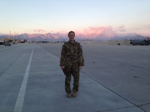 Me on the ramp at sunset (or maybe sunrise?).  It was a pretty night/morning . . . I can't remember.